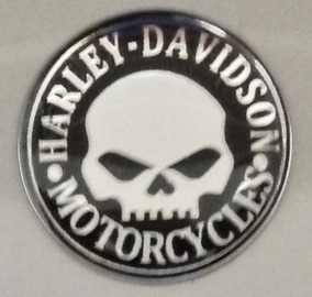 Adesivo Harley Davidson Skull Preto/prata Redondo 2 Cm T3at