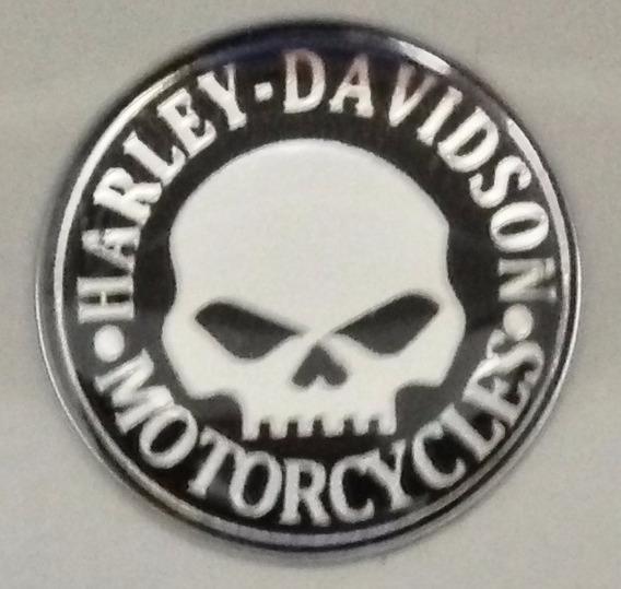 Adesivo Harley Davidson Skull Preto/prata Redondo 1,5cm T3at