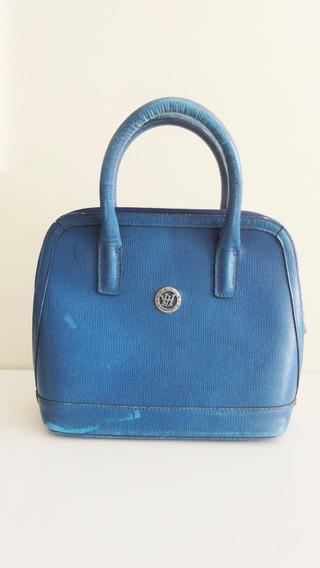 Bolsa Victor Hugo Couro Croco Original Azul Linda