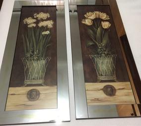 Quadros De Flor Com Espelhado Na Borda - 1,03 X 0,43mts