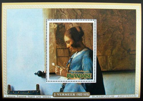 Rwanda Arte, Bloque Sc. 682 Vermeer 30f 1975 Mint L6658