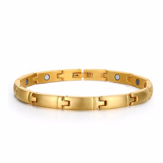 Pulseira Bracelete Feminino Aço Cirurgíco 316l Banhado 18k