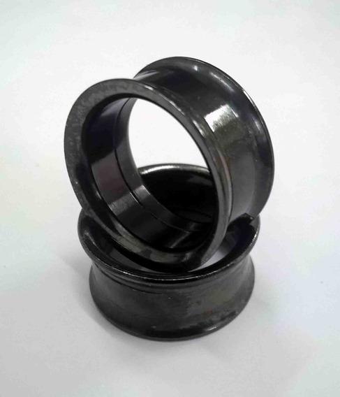 Promoção: Alargador De Metal 18mm Preto Com Rosca