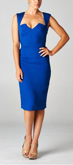 Vestido Abajo De La Rodilla Azul Rey