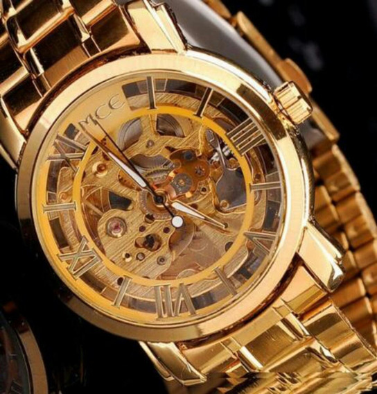 Relógio Mec Wristwatches Gold Color Transparent