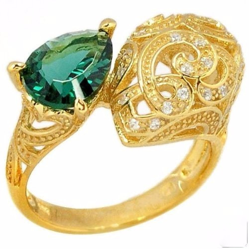 Lindo Anel De Prata 925 Com Cristal Esmeralda Russo- Ouro Gp