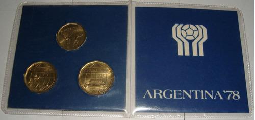 Blister Original Con 3 Monedas Bronce Mundial 78 Sin Circula