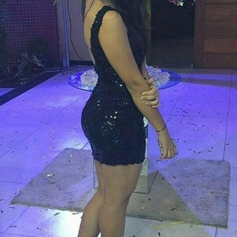 Vestido Preto Com Paete