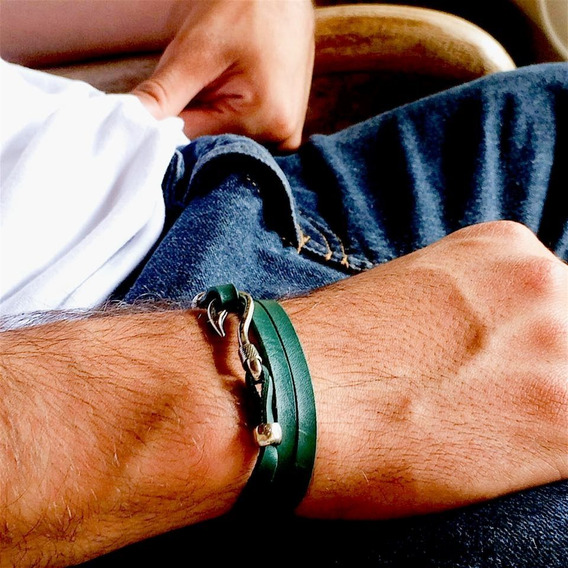 Pulseira Masculina Couro Genuino Verde Anzol Cardin Design