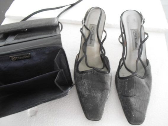 Bolsa Carteira Com Sapato De Festa Grife Claudina Nº 36