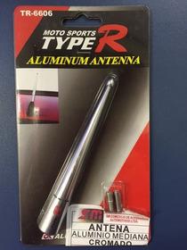 Haste Antena Teto Aluminio Cromada 12cm Rosca 5mm / 6mm