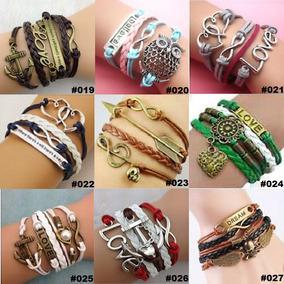 Kit 20 Pulseiras Feminina Unissex Bracelete De Couro