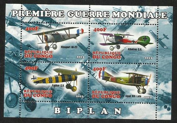 Bloque 4 Estampillas Avion - Biplano Primera Guerra Mundial