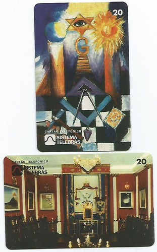 Imagem 1 de 2 de Telebrás Mídia 2 Cartões Diferentes Maçonaria