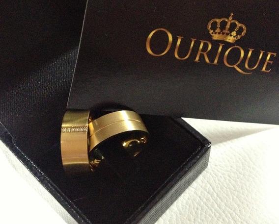 Par De Aliança Em Ouro 18k 750 Com Diamantes Promoção