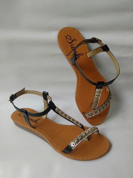 Sandalia Bajita Dama Negra Zapatos Mujeres Moda Envio Gratis