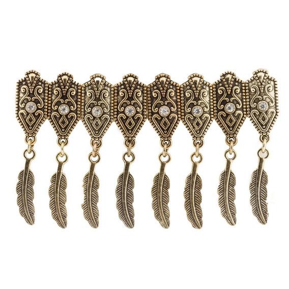 Bracelete Feather Ouro Velho Strass