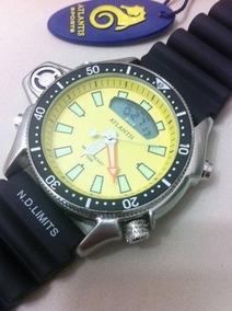 Relogio Atlantis Amarelo Serie Prata Aqualand A3220 =citzen