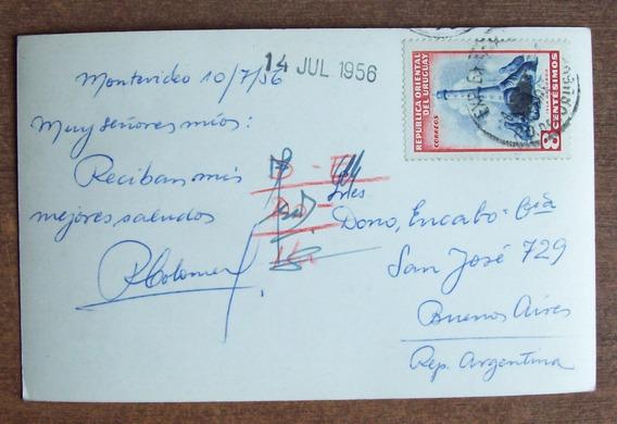 Uruguay - Postal Enviada A Argentina 1956 L1442