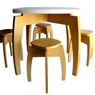 Juego Comedor 90x90 Mesa + 4 Banquetas Madera Pch Diseño