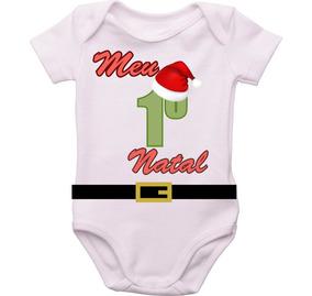 Body Bebê Natal Meu Primeiro Natal Menino *promoção De Natal