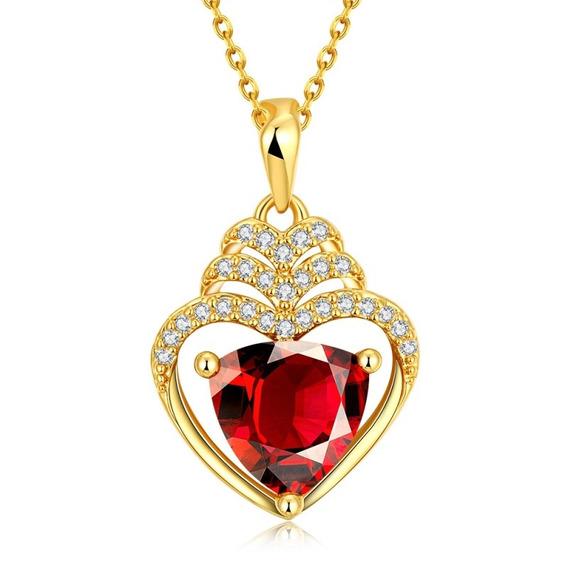 Colar Feminino Folheado Pingente Coração + Zircônia Vermelha