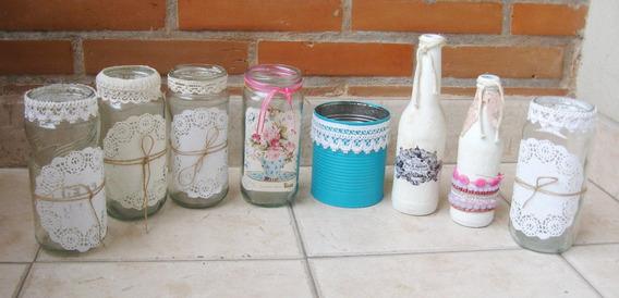 Frascos Botellas Y Latas Floreros Decorados Vintage Centros