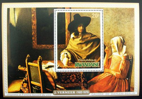 Rwanda Arte, Serie 4 Bloques Sc. 681-4 Vermeer 75 Mint L6661