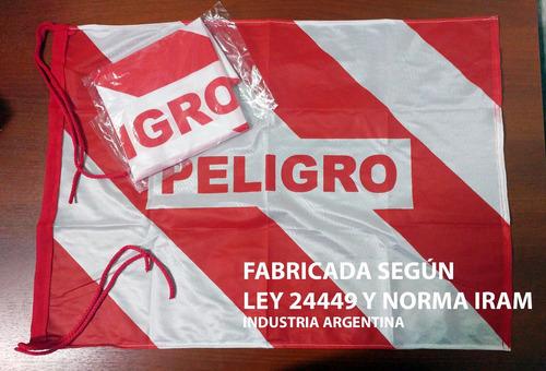 50 Banderas De Peligro 50x70cm Reforzadas Vial Ley 24449