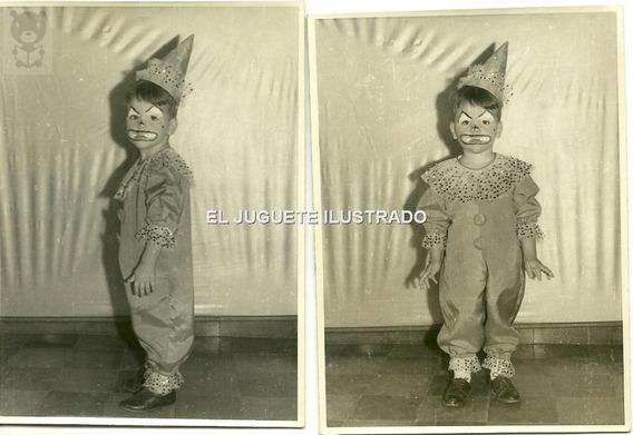 Id11 Antiguo Foto Disfraz Infantil Payasito Lote X 2