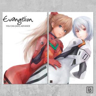 Evangelion - Asuka Y Rei Cuadros Anime Manga Tamaño Xxl (x2)