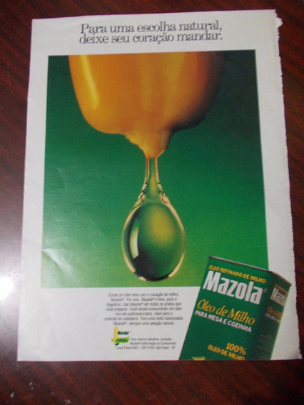Propaganda Antiga - Mazola. Óleo De Milho Para Mesa E Cozinh