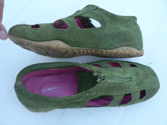 Zapatilla Sandalia Zapato Nº 36 37 Gamuza Verde Sofi Martire