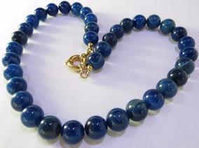 Colar Folheado A Ouro 18k Com Pedras Azul Natural