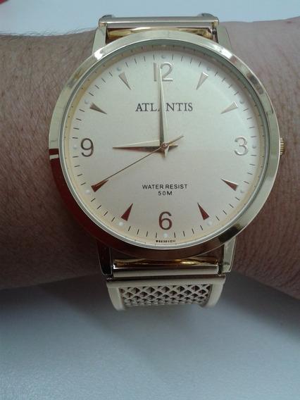 Relógio Feminino Dourado Atlantis De Pulso