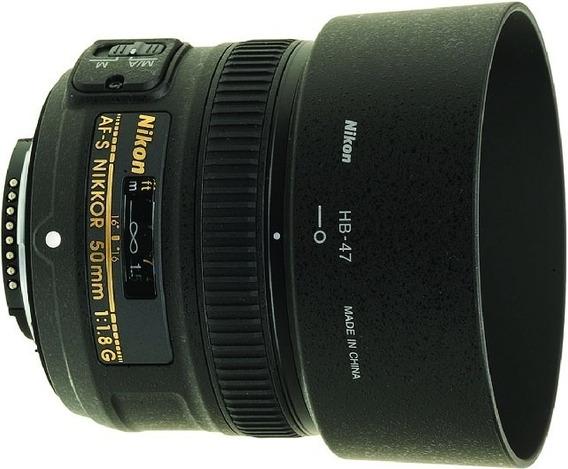 Lente Nikon 50mm F1.8g Af-s C/ Parasol P/ Entrega Auto Foco