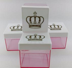 120 Caixa Coroa / 120 Caixinha Coroa Acrílico 5x5 Rosa