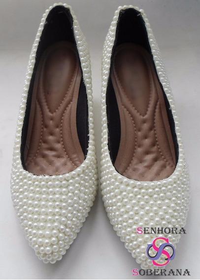 Sapato Scarpin Bege /marfim Perolado (noivas) Pronta Entrega