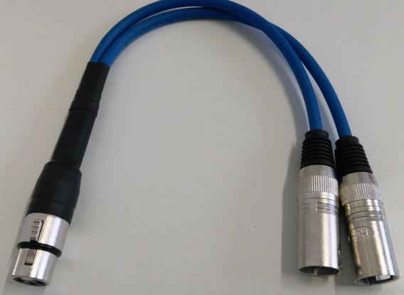 Kit Com Quatro Cabos Xlr Splitter Y 30cm Xlr Para Microfone