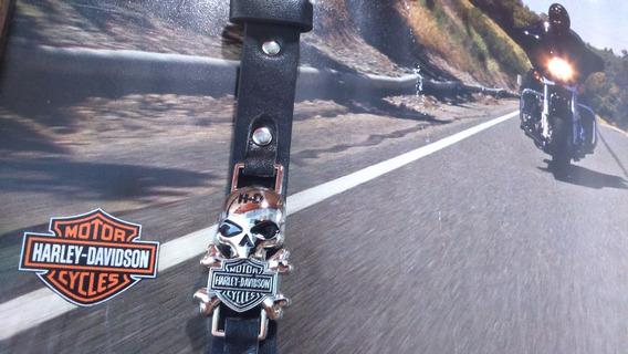 Pulseira Skull Harley Davidson Couro
