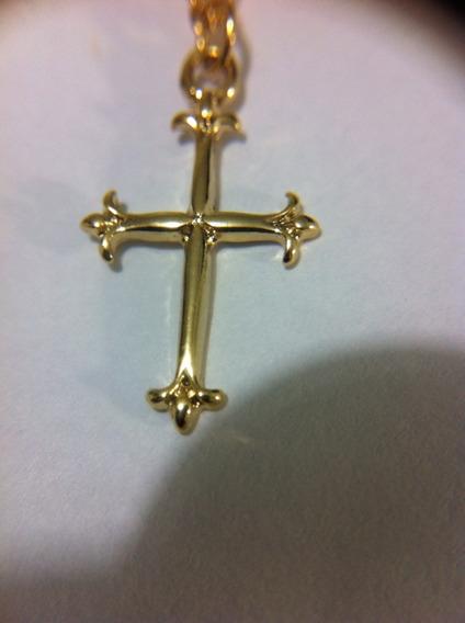 Crucifixo Pingente Banho De Ouro + Corrente 40a45cm. 5 Fotos