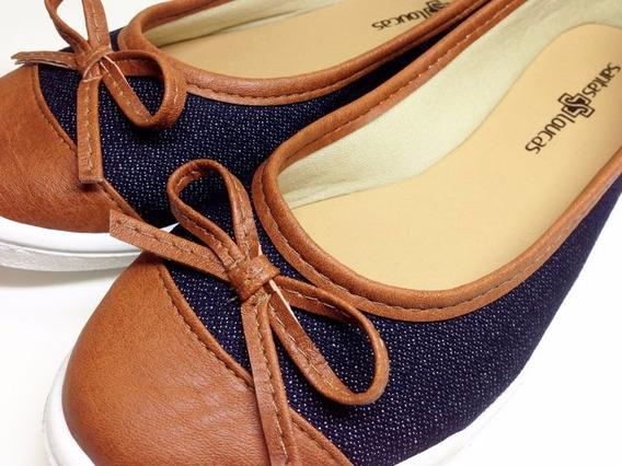 Sapatênis Feminino Jeans Moderno | Azul E Marrom