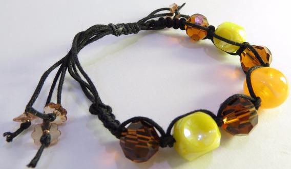 Pulseira Cordão Preto - Pedra Amarela Cintilante E Cristais