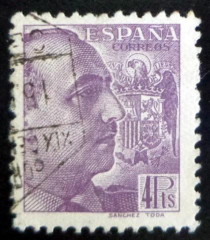 España, Sello Yv. 674 Franco 4ptas Sanchez Toda Usado L7635