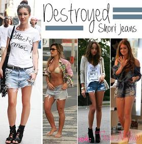 Shorts Jeans Destroyed Tamanho 40
