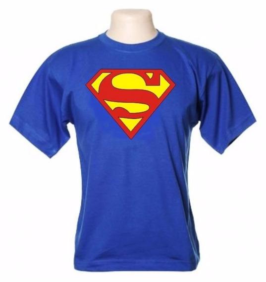 Camiseta Super-homem=tam 1m-1g-cor: Azul Royalhe127