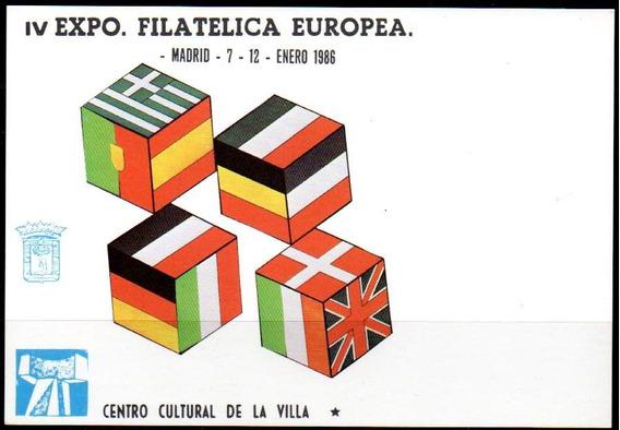 España 1986. Tarjeta So Fi Eur, Banderas Comunitarias