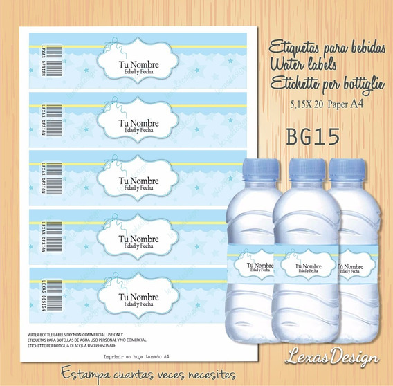 Etiquetas Botellas Bebidas Bebes Candy Bar, Pdf Bg15