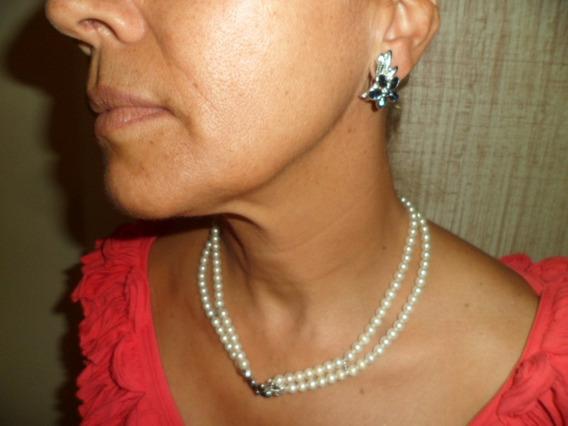 Gargantilha De Prata Com Pedras Azuis E Perolas