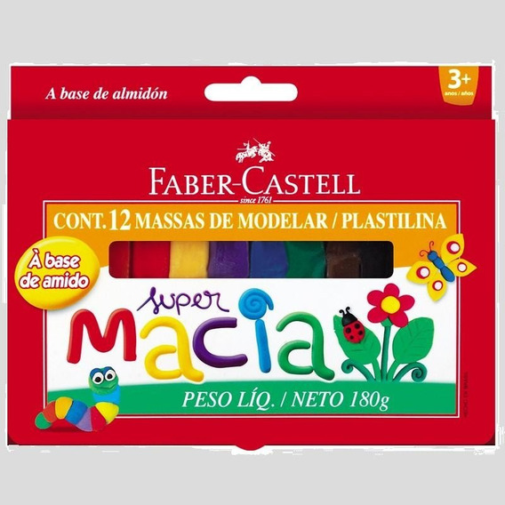 3 Massa Plastilinas Faber-castell - 12 Cores 180g